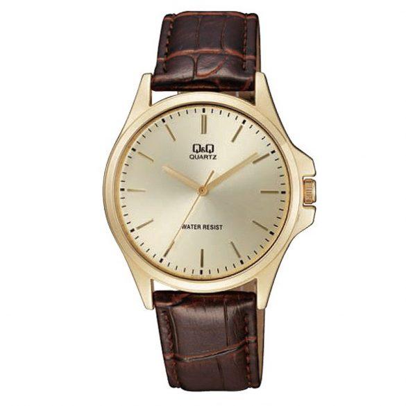 Q&Q férfi bőrszíjas karóra, quartz, arany színű tok, barna szíj, pezsgő számlap, QA06J100Y