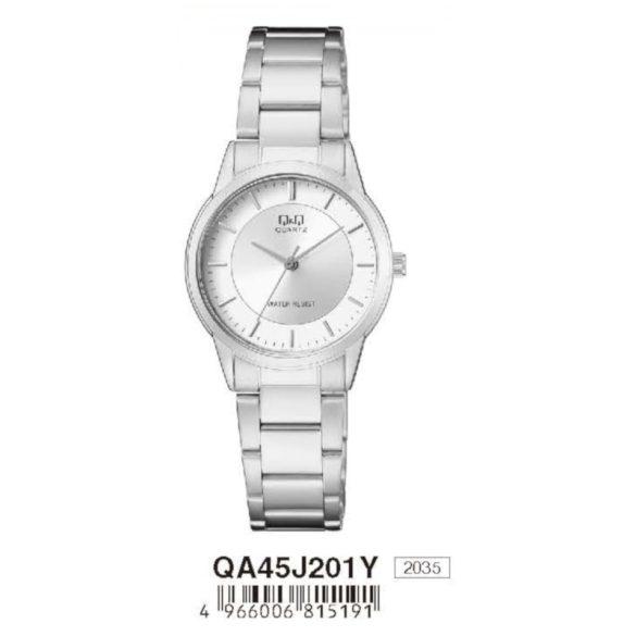 Q&Q nőii fémcsatos karóra, quartz, ezüst színű  tok és csat, fehér számlap, QA45J201Y