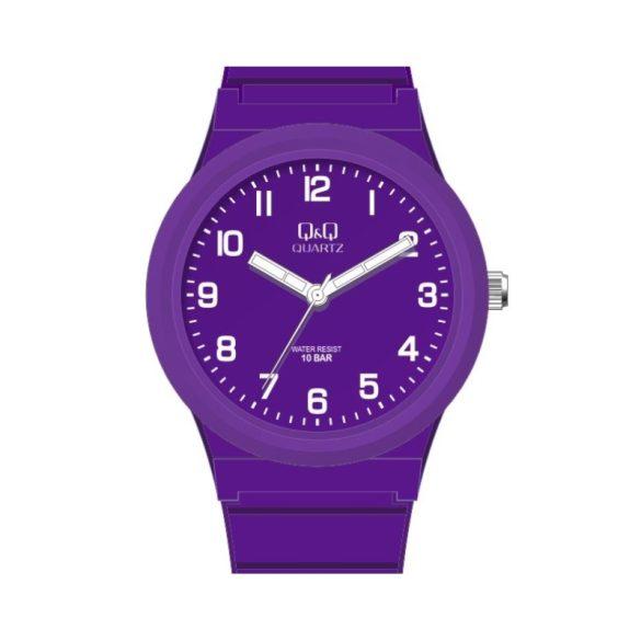 Q&Q unisex műanyag karóra, quartz, lila színű tok és csat, lila számlap, VR94J805Y