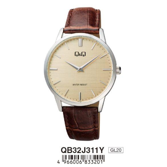 Q&Q férfi bőrszíjas karóra, quartz, ezüst színű tok, barna szíj, pezsgő színű számlap, QB32J311Y