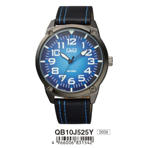 Q&Q férfi bőrszíjas karóra, quartz, fekete színű tok, fekete szíj, kék számlap, QB10J525Y