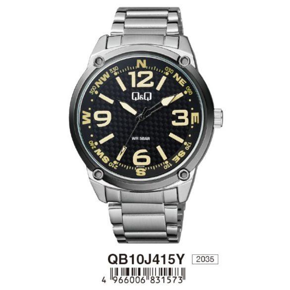 Q&Q analóg divat férfi karóra, ezüst színű fém tok, ezüst színű fém csat, fekete számlap, ásványüveg, quartz szerkezet, 50 m (5 ATM) vízállóság - QB10J415Y