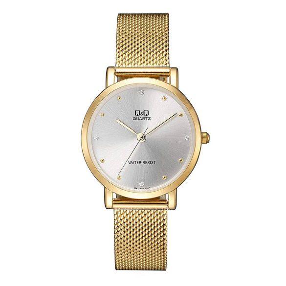 Q&Q női fémcsatos karóra, quartz, arany színű tok és csat, ezüst színű számlap, QA21J001Y