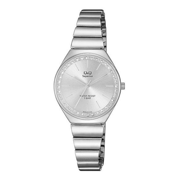 Q&Q női fémcsatos karóra, quartz, ezüst színű tok és csat, ezüst színű számlap, S293J201Y