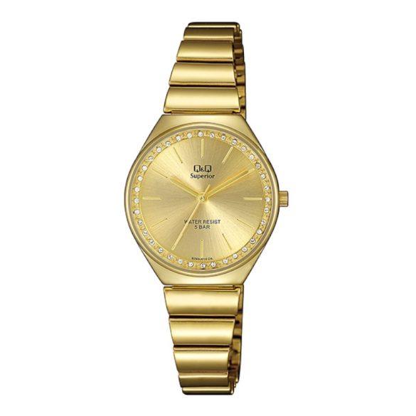Q&Q női fémcsatos karóra, quartz, arany színű tok és csat, arany színű számlap, S293J010Y