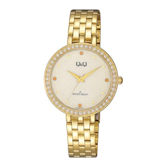 Q&Q női ékszeróra, quartz, arany színű tok és csat, arany számlap, QZ27J001Y