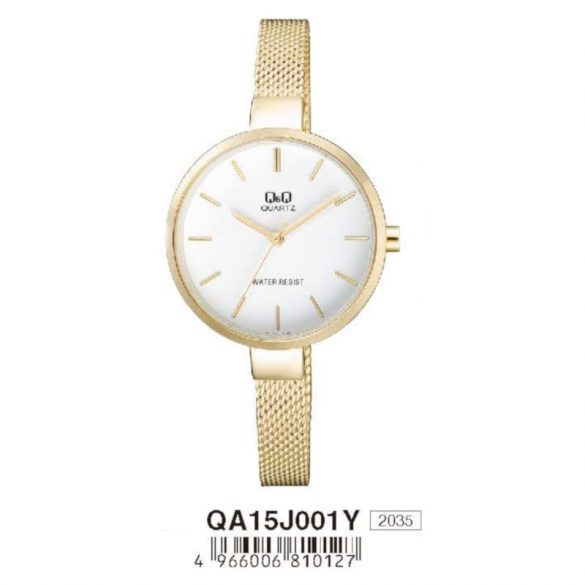 Q&Q női  quartz ékszeróra, arany színű  tok és csat, fehér számlap, QA15J001Y