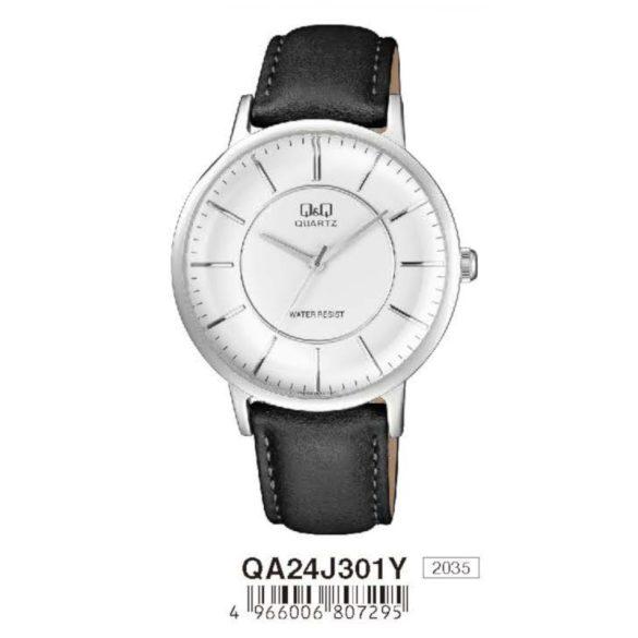Q&Q férfi bőrszíjas  quartz karóra, ezüst színű  tok, fekete szíj, fehér számlap, QA24J301Y
