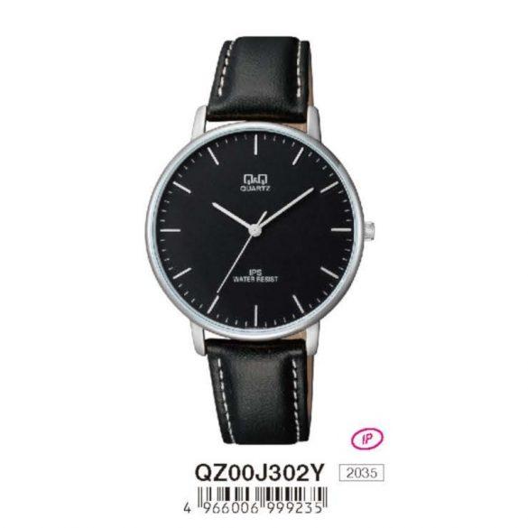 Q&Q férfi bőrszíjas  quartz karóra, ezüst színű  tok, fekete bőrszíj, fekete számlap, QZ00J302Y