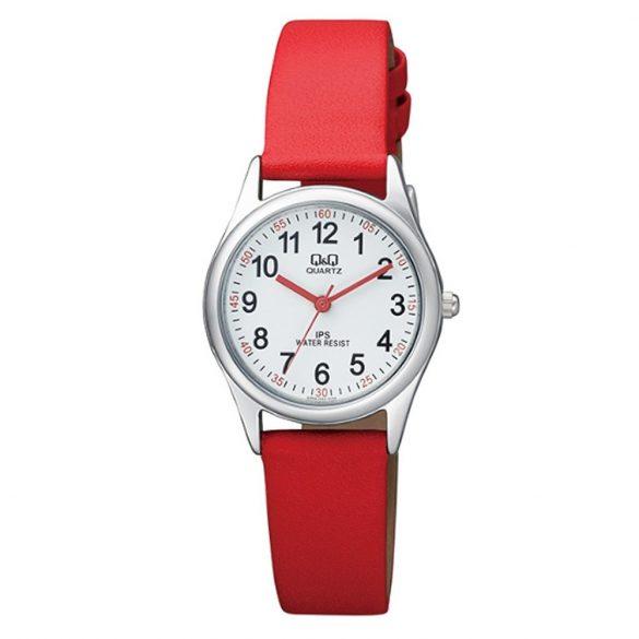 Q&Q női bőrszíjas  quartz karóra, ezüst színű  tok, piros bőrszíj, fehér számlap, QZ09J324Y