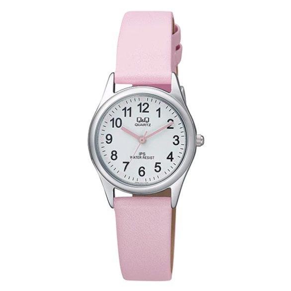 Q&Q női bőrszíjas quartz karóra, ezüst színű tok, rózsaszín bőrszíj, fehér számlap, QZ09J334Y
