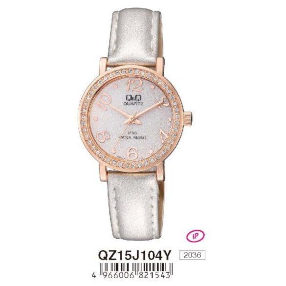 Q&Q női bőrszíjas  quartz karóra, rózsaarany színű  tok, fehér bőrszíj, fehér számlap, QZ15J104Y