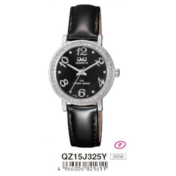 Q&Q női bőrszíjas  quartz karóra, ezüst színű  tok, fekete bőrszíj, fekete számlap, QZ15J325Y