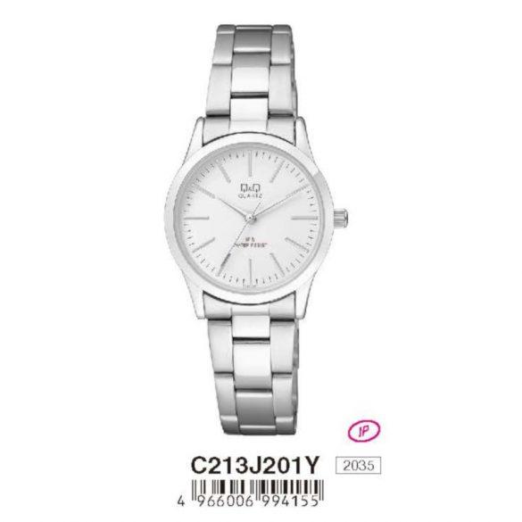 Q&Q női fémcsatos  quartz karóra, ezüst színű  tok és csat, fehér számlap, C213J201Y