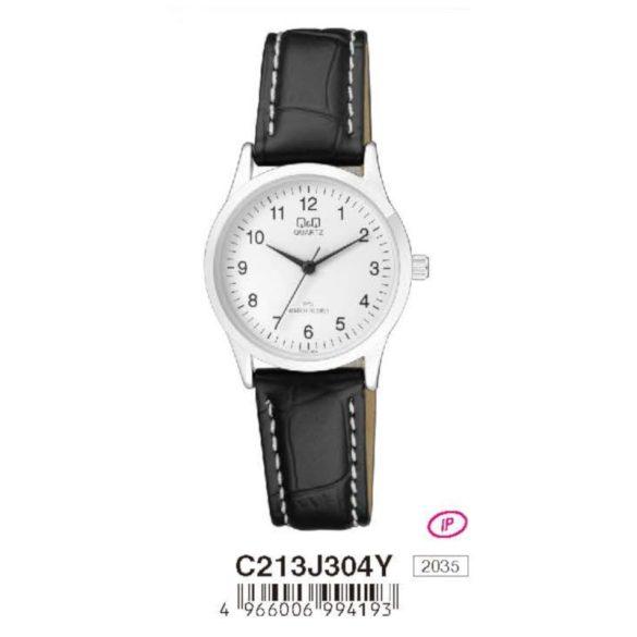 Q&Q női bőrszíjas  quartz karóra, ezüst színű  tok, fekete szíj, fehér számlap, C213J304Y