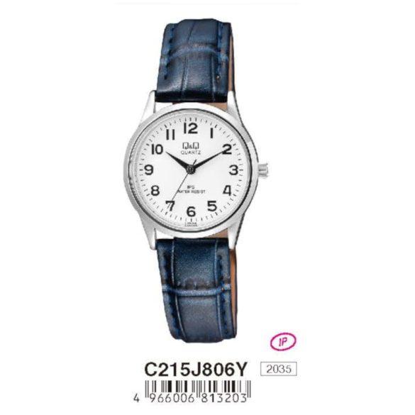 Q&Q női bőrszíjas  quartz karóra, ezüst színű  tok, s.kék szíj, fehér számlap, C215J806Y