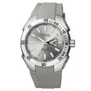 Q&Q férfi műanyag szíjas  quartz karóra, ezüst színű  tok, szürke szíj, ezüst számlap, DB24J322Y