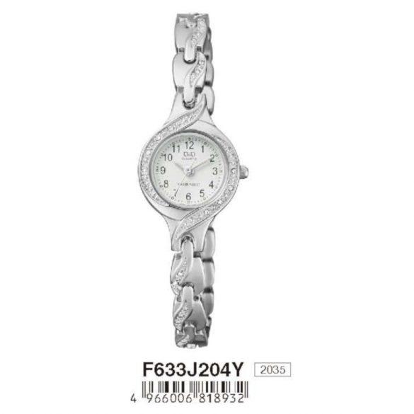 Q&Q női  quartz ékszeróra, ezüst színű  tok és csat, fehér számlap, F633J204Y
