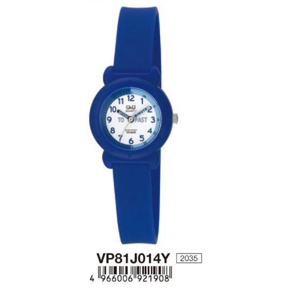 Q&Q  gyerek karóra, quartz, kék színű  műanyag tok és szíj, fehér számlap, VP81J014Y