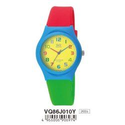 Q&Q gyerek karóra, quartz, kék színű  műanyag tok, piros szíj, sárga számlap, VQ86J010Y