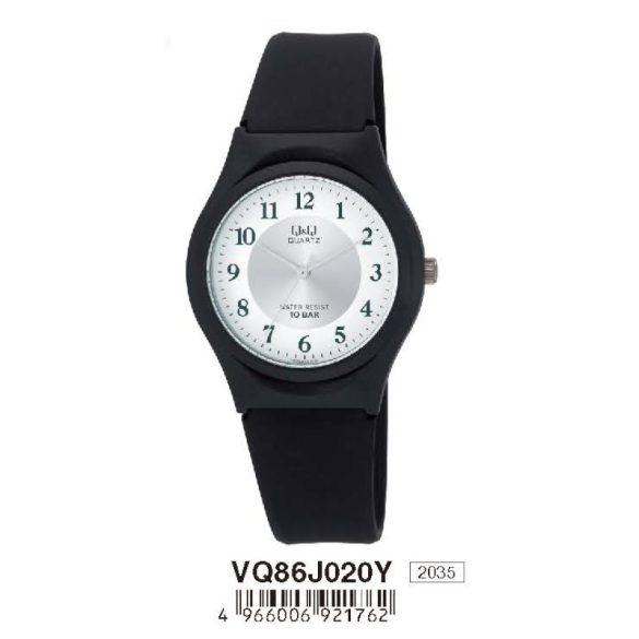 Q&Q női  quartz karóra, fekete színű  műanyag tok és szíj, fehér számlap, VQ86J020Y