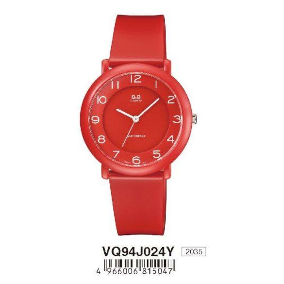 Q&Q női  quartz karóra, piros színű  műanyag tok és szíj, piros számlap, VQ94J024Y