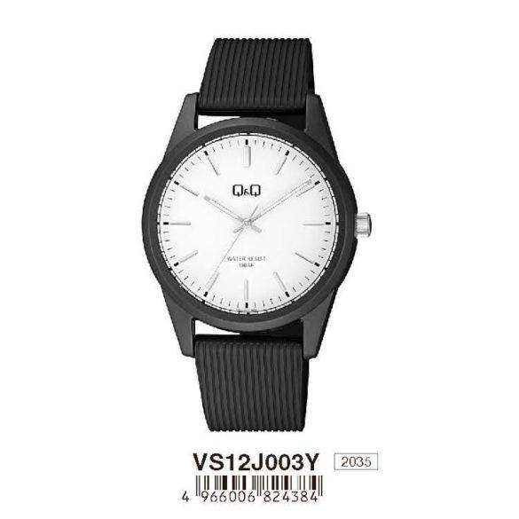 Q&Q női  quartz karóra, fekete színű  műanyag tok és szíj, fehér számlap, VS12J003Y