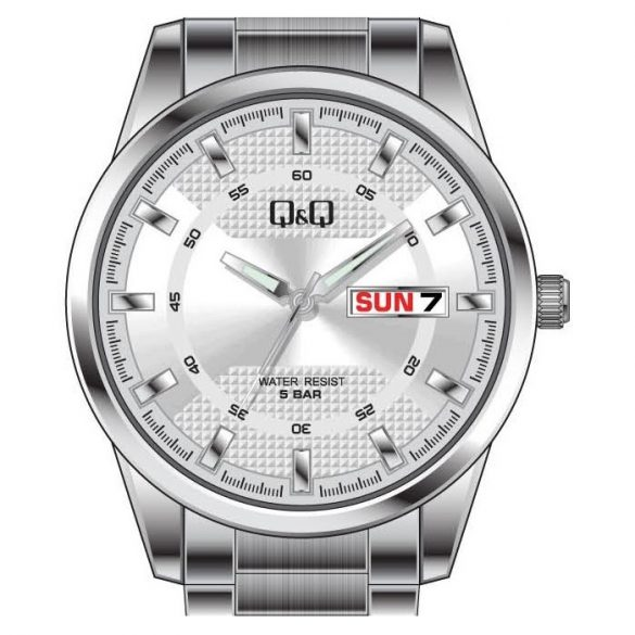 Q&Q férfi  quartz karóra, ezüst színű  fém tok és csat, ezüst színű számlap, A208J201Y