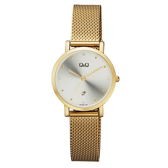 Q&Q női  quartz karóra, arany színű  fém tok és csat, ezüst színű számlap, A419J001Y