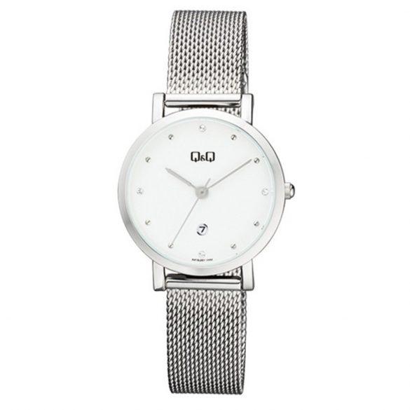 Q&Q női quartz karóra, ezüst színű fém tok és csat, ezüst színű számlap, A419J201Y