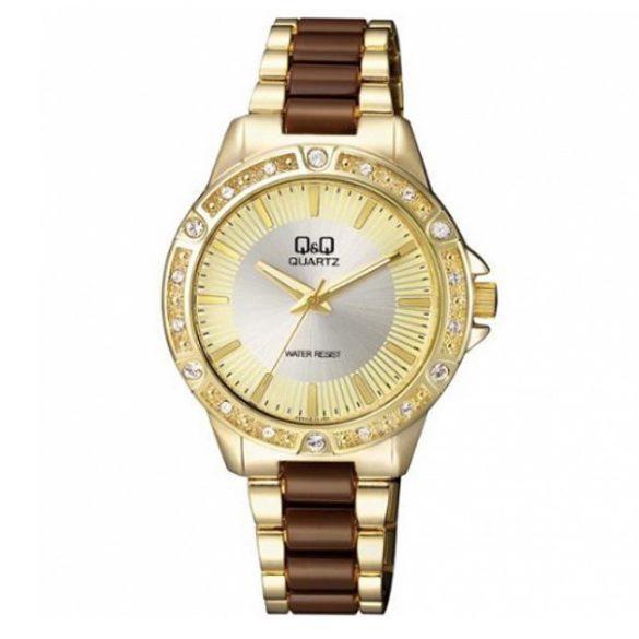 Q&Q női fémcsatos  quartz karóra, arany színű  tok és csat, arany színű számlap, F533J010Y