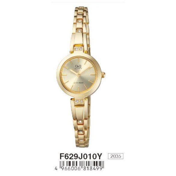 Q&Q női ékszeróra, quartz, arany színű  tok és csat, arany színű számlap, F629J010Y