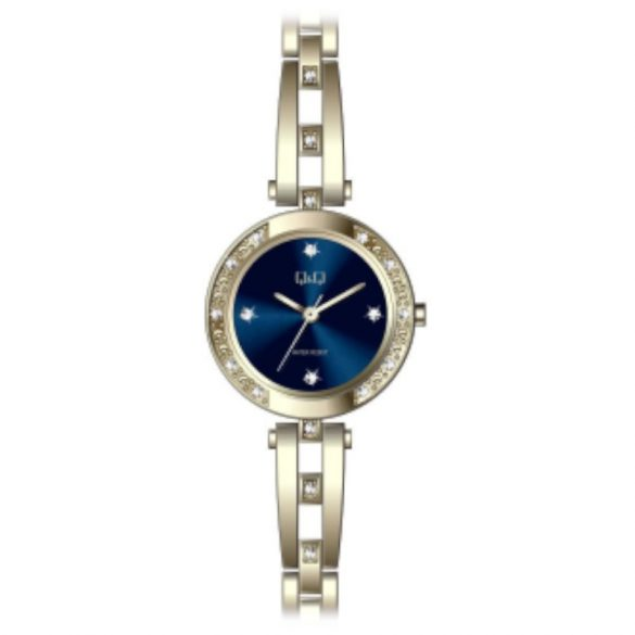 Q&Q női ékszeróra, quartz, arany színű  tok és csat, kék számlap, F639J002Y