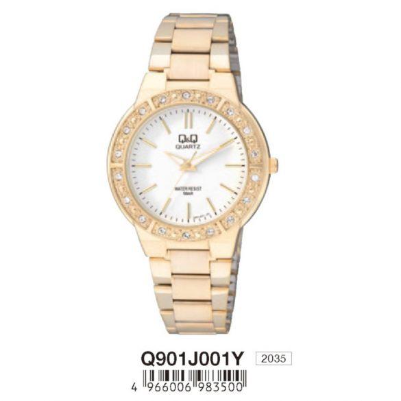 Q&Q női fémcsatos karóra, quartz, arany színű, Q901J001Y