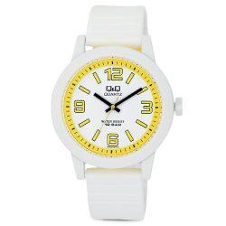 Q&Q műanyag gyerek karóra, quartz, fehér/sárga színű, VR10J010Y