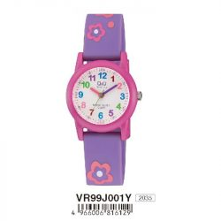 Q&Q analóg gyerek karóra, rózsaszín színű műanyag tok, lila műanyag szíj, rózsaszín számlap, ásványüveg, quartz szerkezet, 100 m (10 ATM) vízállóság - VR99J001Y