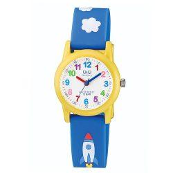 Q&Q analóg gyerek karóra, sárga színű műanyag tok, kék műanyag szíj, fehér számlap, ásványüveg, quartz szerkezet, 100 m (10 ATM) vízállóság - VR99J003