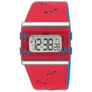 Q&Q digitális karóra, piros tok, piros bőrszíj, digitális kijelző, ásványüveg, M116-006