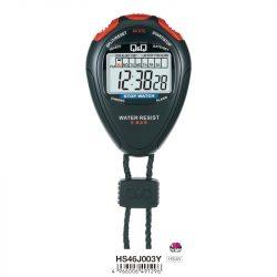 Q&Q fekete stopperóra, piros gombok, alap funkciók, 50 m vízállóság, LCD kijelző, HS46J003Y