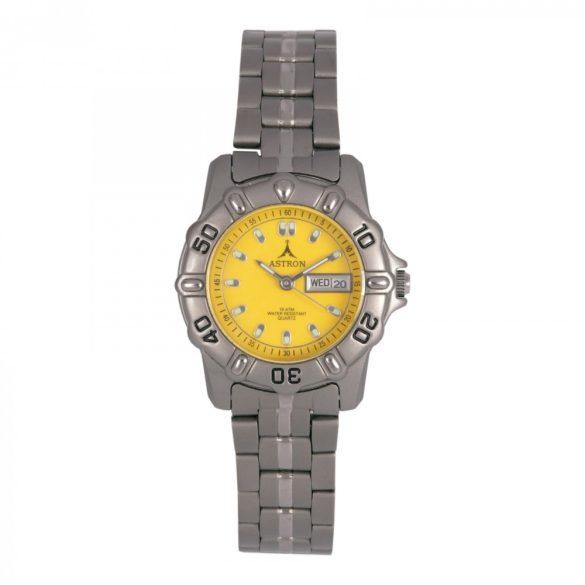 ASTRON 5015-9 női karóra, szürke színű titánium tok, titánium csat, sárga számlap, keményített ásványüveg, quartz szerkezet, 100 m (10 ATM) vízállóság