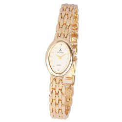 ASTRON 5018-9 női karóra, ékszeróra, arany színű fém tok, arany színű fémcsat, pezsgőszínű számlap, keményített ásványüveg, quartz szerkezet, cseppmentes vízállóság