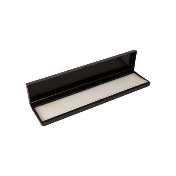 Fekete műanyag óradoboz (lapos, hosszú, fekete)