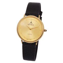 ASTRON 5152-9 női karóra, arany színű fém tok, fekete bőrszíj, arany színű számlap, keményített ásványüveg, quartz szerkezet, cseppmentes vízállóság