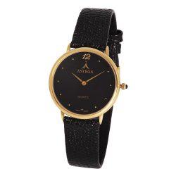 ASTRON 5154-1 analóg női karóra, arany színű fémötvözet tok, fekete bőrszíj szíj/csat, fekete számlap, keményített ásványüveg, quartz szerkezet, cseppmentes vízállóság