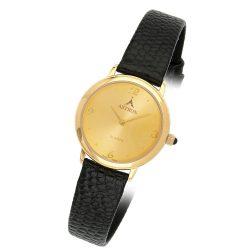 ASTRON 5157-9 női karóra, arany színű fém tok, fekete bőrszíj, arany színű számlap, keményített ásványüveg, quartz szerkezet, cseppmentes vízállóság