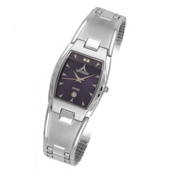 ASTRON 5158-2 férfi karóra, ezüst színű fém tok, ezüst színű fémcsat, fekete számlap, keményített ásványüveg, quartz szerkezet, cseppmentes vízállóság