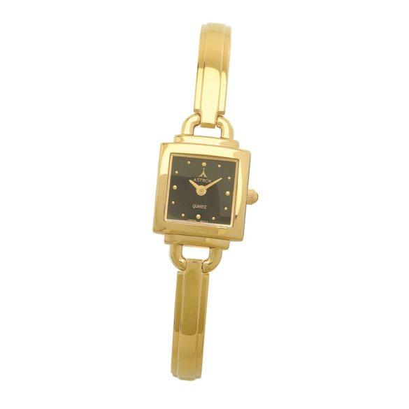 ASTRON 5258-1 analóg női karóra, arany színű fém tok, arany színű fém szíj/csat, fekete számlap, keményített ásványüveg, quartz szerkezet, cseppmentes vízállóság