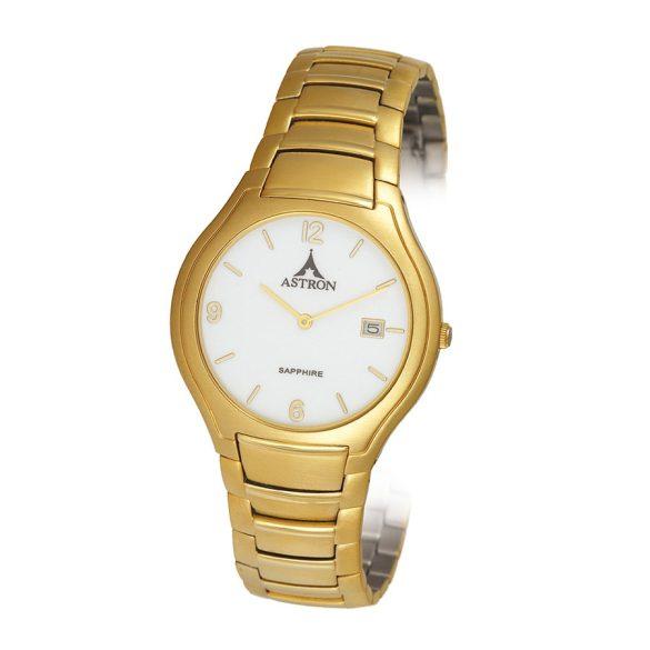 ASTRON 5271-7 férfi karóra, arany színű nemesacél tok, arany színű nemesacél csat, fehér számlap, keményített ásványüveg, quartz szerkezet, cseppmentes vízállóság