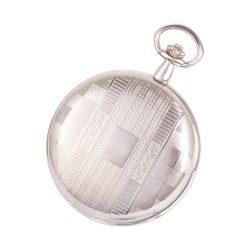 Astron zsebóra, ezüst színű tok és lánc, fehér számlap, római számok