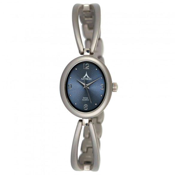 ASTRON 5471-2 női karóra, ékszeróra, szürke színű titánium tok, titánium csat, kék számlap, keményített ásványüveg, quartz szerkezet, cseppmentes vízállóság